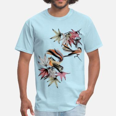 Autumn Leaves Art Design Autumn Leaves and Two Birds - Men's T-Shirt