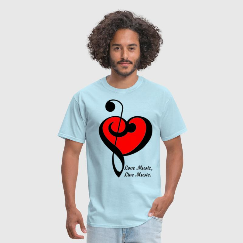 Treble and bass clef heart. Love Music, Live Music - Men's T-Shirt
