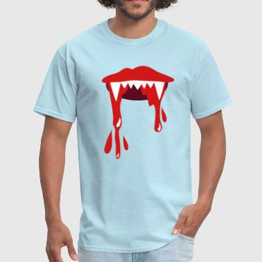 Bloody Lips vampire lips with lots of blood - Men's T-Shirt