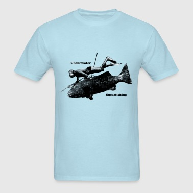 Underwater Spearfishing Diver with Fish - Men's T-Shirt