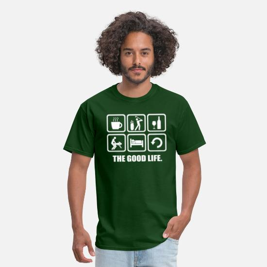 Funny T-Shirts - Rude Golf Shirt The Good Life - Men's T-Shirt forest green