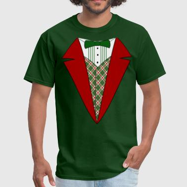 Red And Green Funny Christmas Tuxedo, Red and Green Tux - Men's T-Shirt