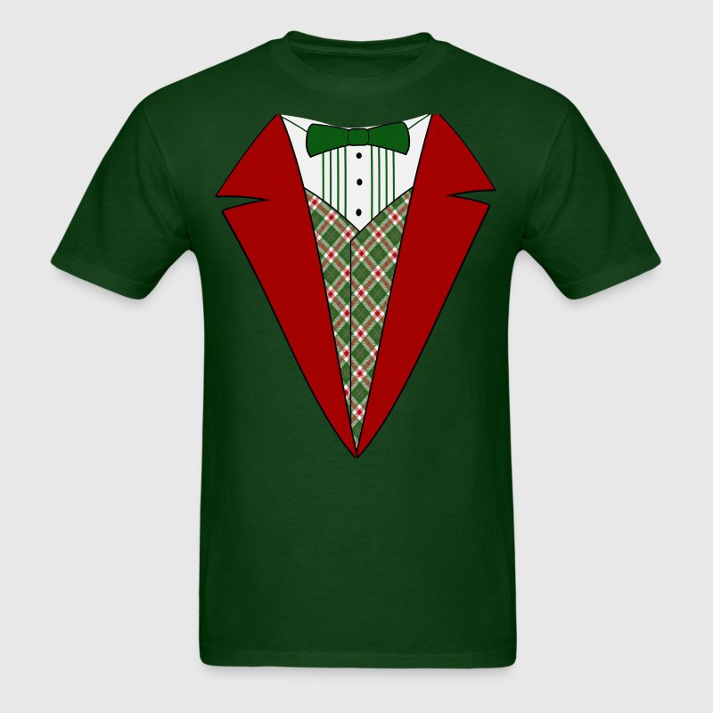 Funny Christmas Tuxedo, Red and Green Tux - Men's T-Shirt