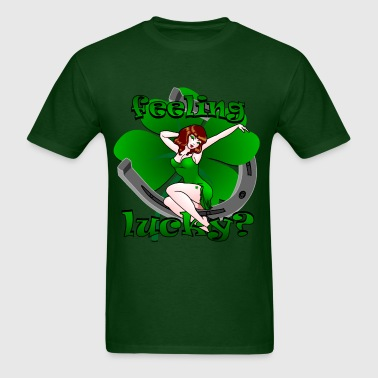 St Patrick's Lucky Pin Up Girl Art - Men's T-Shirt