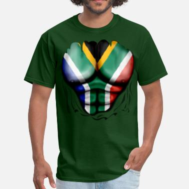South Africa Flag South Africa Flag Ripped Muscles, six pack, chest t-shirt - Men's T-Shirt
