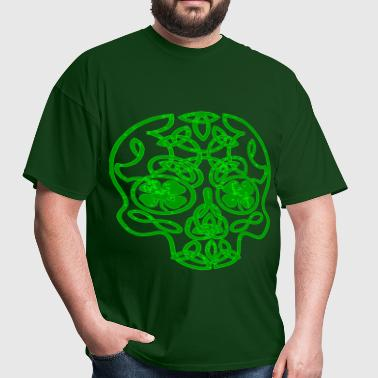 Green Celtic Skull  ©WhiteTigerLLC.com   - Men's T-Shirt
