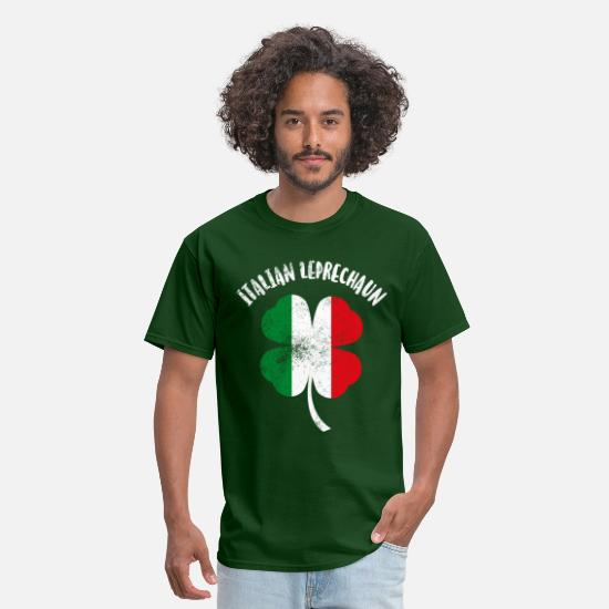 Italian T-Shirts - Italian Leprechaun - Men's T-Shirt forest green