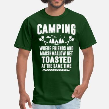 Happy Marshmallow Camping - Where Friends And Marshmallow Get.... - Men's T-Shirt