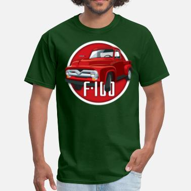 1956 Ford Truck Illustration of a second generation red Ford F-100 - Men's T-Shirt