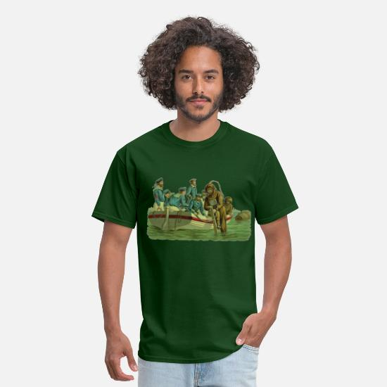 Military T-Shirts - Vintage Military Deep Sea Divers with Boat - Men's T-Shirt forest green