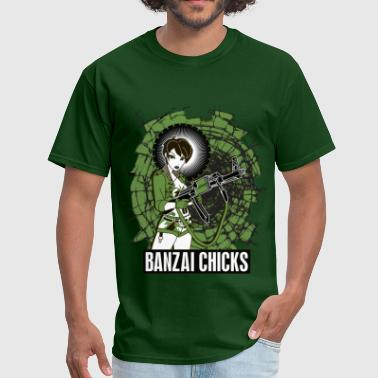 Clone Design Men's Green Banzai Chicks Army Girl T-shirt - Men's T-Shirt