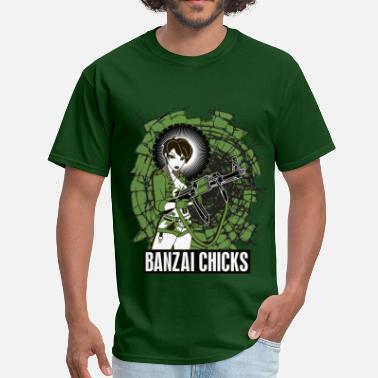 Brainchild Men's Green Banzai Chicks Army Girl T-shirt - Men's T-Shirt