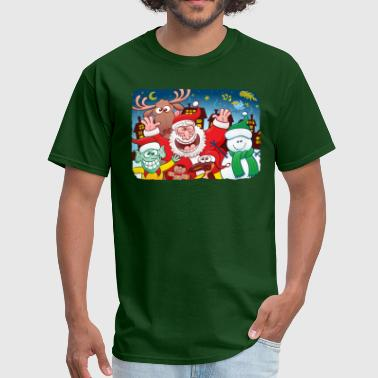Santa Claus and friends celebrating Christmas - Men's T-Shirt