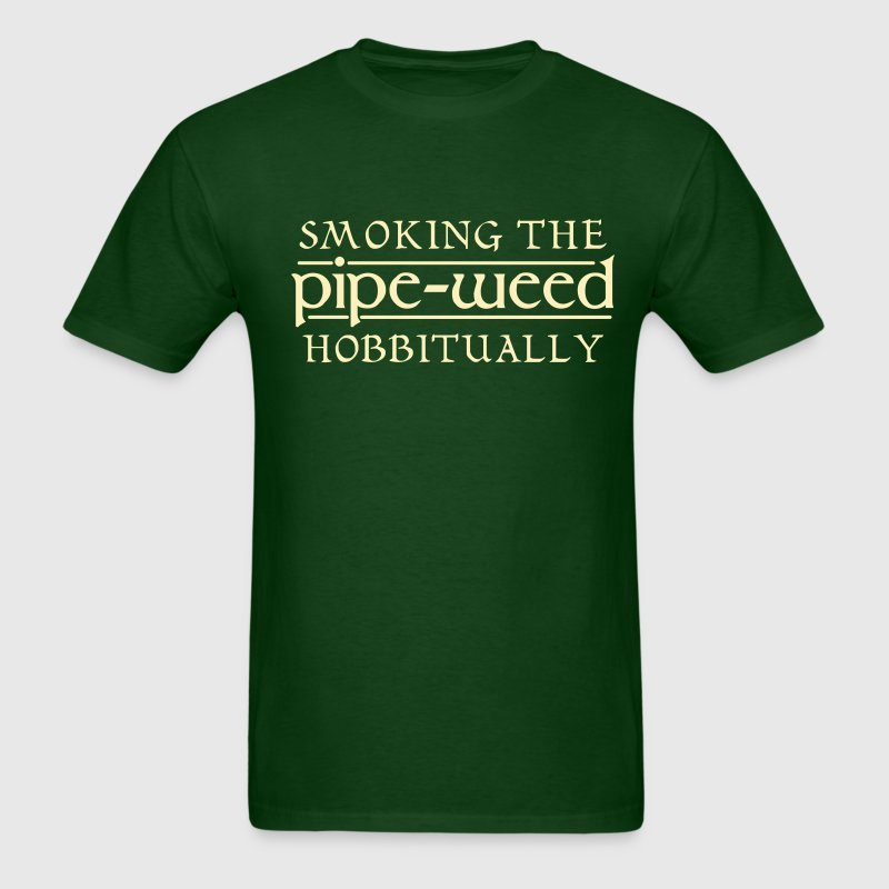 Smoking The Pipe-Weed Hobbitually - Men's T-Shirt