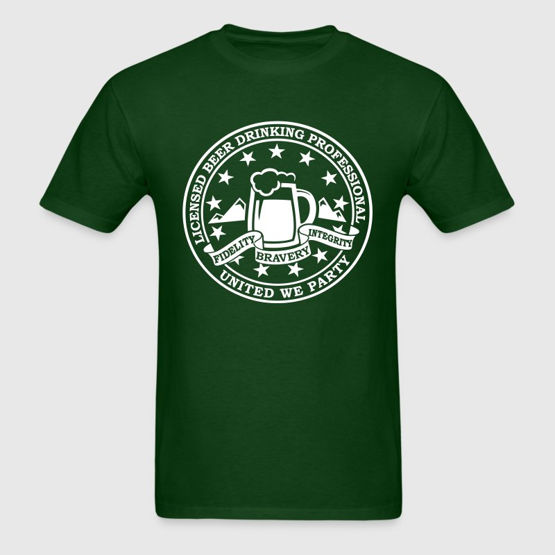 Funny i love beer alcohol drinking license badge t-shirts for drunk clubbing stag partying st patrick keg frat party - Men's T-Shirt