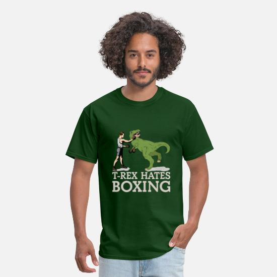 Rex T-Shirts - T Rex Hates Boxing - Men's T-Shirt forest green
