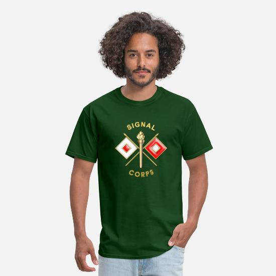 Signal T-Shirts - Signal Corps Branch Insignia - Men's T-Shirt forest green