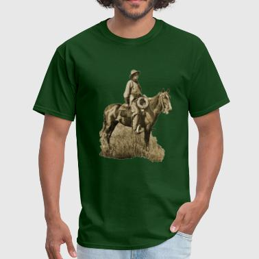 Vintage Cowboy with Horse and Gun - Men's T-Shirt
