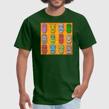 Hawaiian Culture Colorful Polynesian - Hawaiian Tiki Statues - Men's T-Shirt