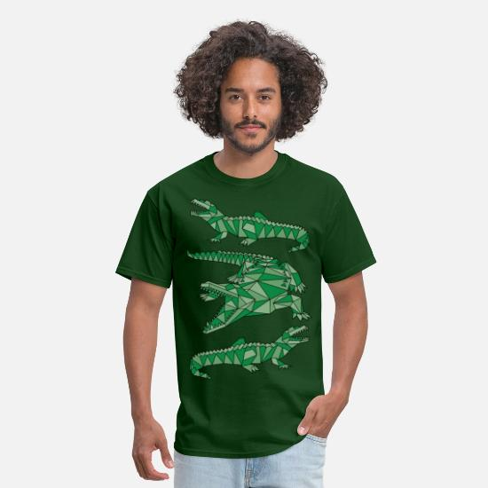 Crocodile T-Shirts - Geometric Crocodiles  - Men's T-Shirt forest green