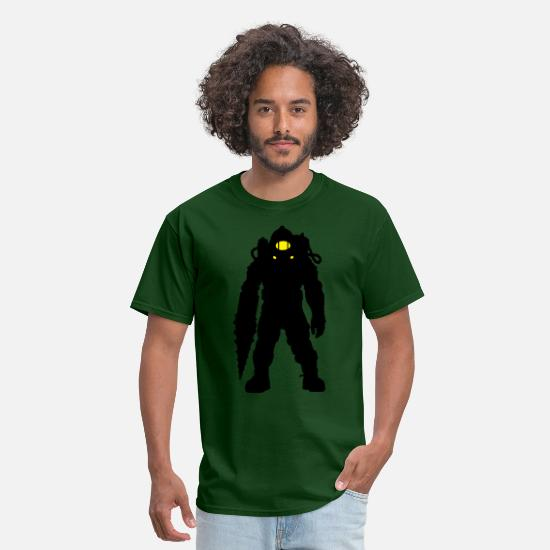 Bio Shock Bioshock 2 Infinite Game Big Dad Little Sister T-Shirts - Subject Delta Silhouette - Men's T-Shirt forest green