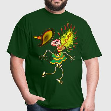 Mexican Skeleton Burping Hot Chili Peppers - Men's T-Shirt
