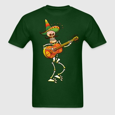 Mexican Skeleton Playing Guitar - Men's T-Shirt