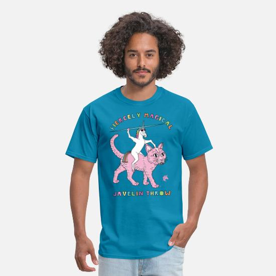Javelin T-Shirts - Fiercely Magical Javelin Throw Unicorn Riding Cat - Men's T-Shirt turquoise