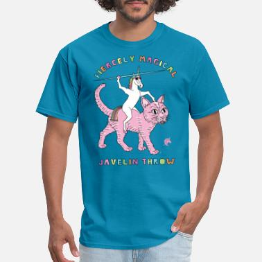 Javelin Fiercely Magical Javelin Throw Unicorn Riding Cat - Men's T-Shirt