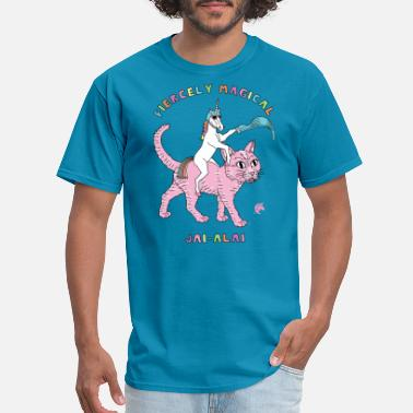 Jai Alai Fiercely Magical Jai Alai Unicorn Riding Cat - Men's T-Shirt