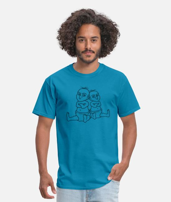 Mad T-Shirts - Twins 2 cool brothers sisters kids boys girls insu - Men's T-Shirt turquoise