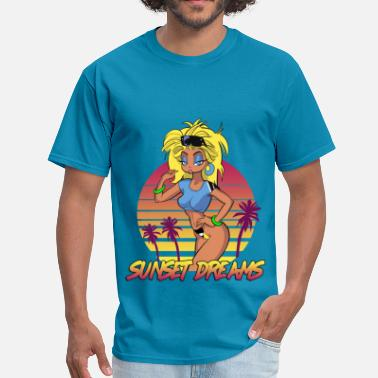 Cartoonart Sunset Dreams Retro Pinup - Men's T-Shirt