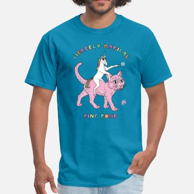 Pingpong Fiercely Magical Ping Pong Unicorn Riding Cat - Men's T-Shirt