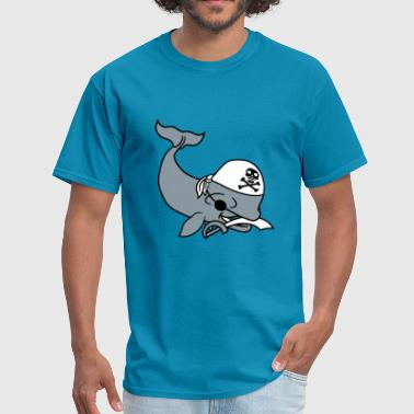 pirate pirate saber seaman evil gray whale blue wh - Men's T-Shirt