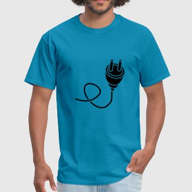 black connect connection cable plug outlet power e - Men's T-Shirt