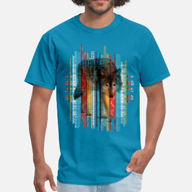 Ethnic Tribal Wolf  on tribal ethnic pattern texture - Men's T-Shirt