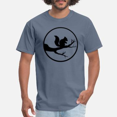 Squirrely round moon circle night shadow branch black squirr - Men's T-Shirt