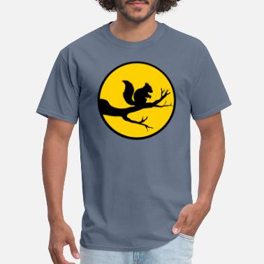 Squirrely moon circle round night shadow branch black squirr - Men's T-Shirt