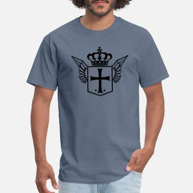 Cross And Crown shield shield crown crusader church symbol cross j - Men's T-Shirt