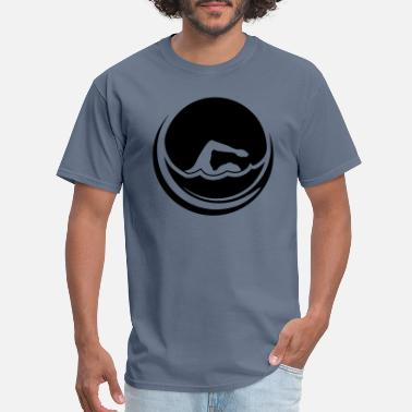 Swimmer sun cool circle round logo swim swimmer club team - Men's T-Shirt