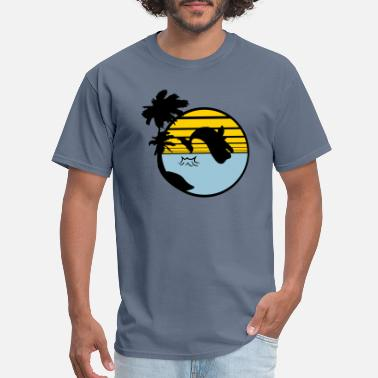 Beached Whale beach island palm tree jump gray whale blue whale - Men's T-Shirt