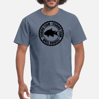 Fishing Team circle round stamp fishing team sport logo caught - Men's T-Shirt