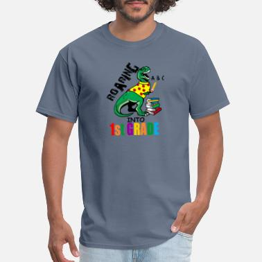 Elementary Roaring Into 1st Grade T Rex Back To School for - Men's T-Shirt