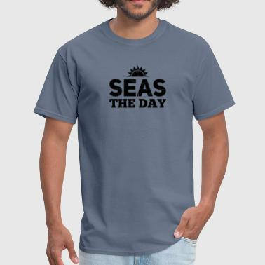 Seas The Day Boat Captain Shirt Boating Humor Gift - Men's T-Shirt