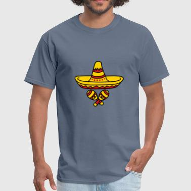 rattles music band sombrero party hat celebrate so - Men's T-Shirt