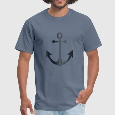 lines strokes anchor boat ship floating sea sailor - Men's T-Shirt
