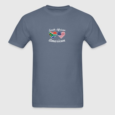 South African American Flag Hearts - Men's T-Shirt
