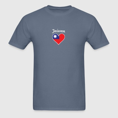 Taiwan Flag Heart - Men's T-Shirt