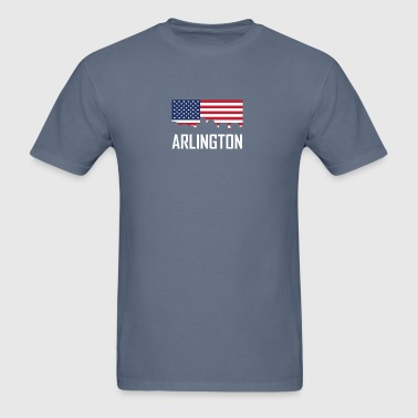 Arlington Virginia Skyline American Flag - Men's T-Shirt