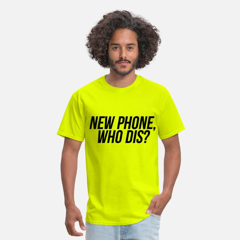 Funny T-Shirts - New Phone Who Dis - Men's T-Shirt safety green